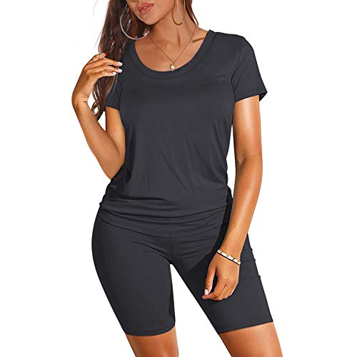 Women Two Piece Outfits,Summer Short Sleeve Casual Plus Size Short Sets Sexy V Neck Loose Workout Sets