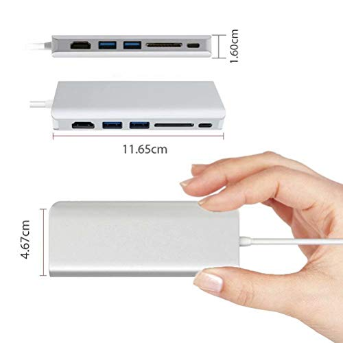 ICFPWR 6 in 1 USB C Hub, Type C Adapter to HDMI, with 1000M Ethernet Port, 2 USB 3.0 Ports, SD Card Reader, USB-C Power Delivery, Compatible for MacBook Pro/Air and Other Type C Laptops (Silver)