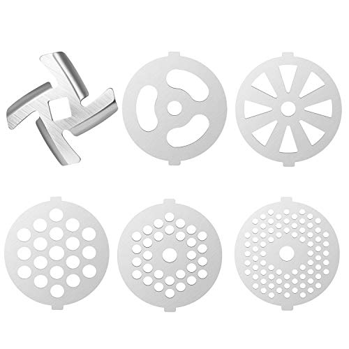 6 Piece Stainless Steel Meat Grinder Plate Discs/Grinding Blades for Food Chopper and Meat Grinder Machinery Parts,Applicable 7-word outlets(Center Hole 7mm)