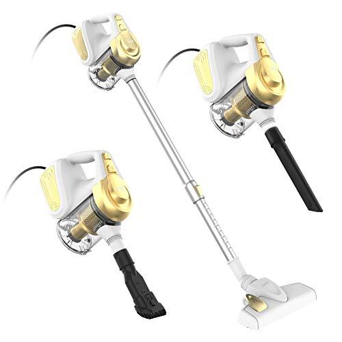 INSE Aspirador con Cable, 3 En 1 Vertical y de Mano, Hogar Escoba Aspiradora, Poderosa Succión 18Kpa, 600W, 1L, Hepa Filtro Lavable, 3 Cepillos Ajustable