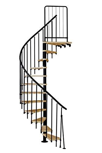 Spindeltreppe ATRIUM Presto, schwarz, Geschosshöhe 271,4-313,5 cm, Durchmesser 140 cm, 11 Holzstufen in Buche + Podest