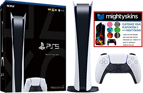 sony game consoles Sony PlayStation 5 PS5 Digital Edition Version Video Game Console w/ Mightyskin Custom Skin Code Voucher - Bundle