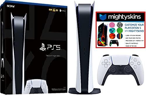 Sony playstation 5 ps5 digital edition version video game console w/ mightyskin custom skin code voucher - bundle