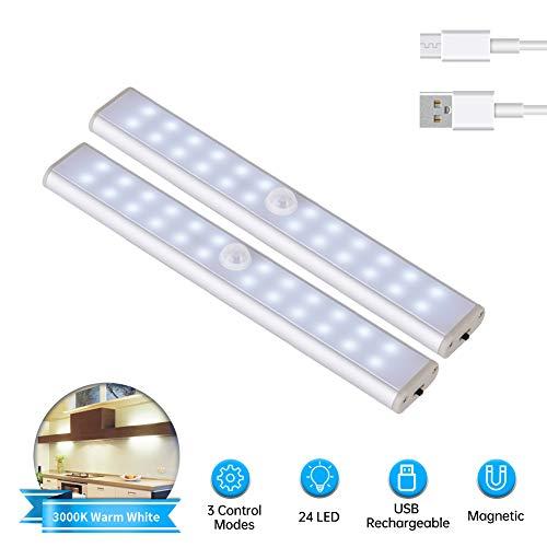LED Schrankbeleuchtung mit Bewegungsmelder,LACYIE 24 LEDs USB Wiederaufladbar LED Unterbauleuchte Nachtlicht mit Magnetstreifen,3 Modi e Auto/ON/OFF für Küche Schrank Flur(6000K Kaltweiß 2 Stück)