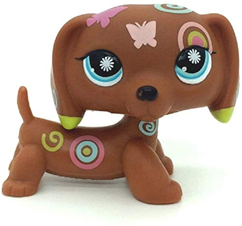 Mini pet Shop LPS Toy 1.4 inch Brown Dachshund, Cute Cartoon pet cat and Dog Toy Littlest Pet Shop Gift
