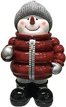 FRPオブジェ 赤いダウンを着たスノーマン 置物 雪だるま ダウンジャケット 冬 店舗 カフェ 喫茶店 レストラン 飲食店 インテリア イベント ディスプレイ 実物大 等身大 リアル