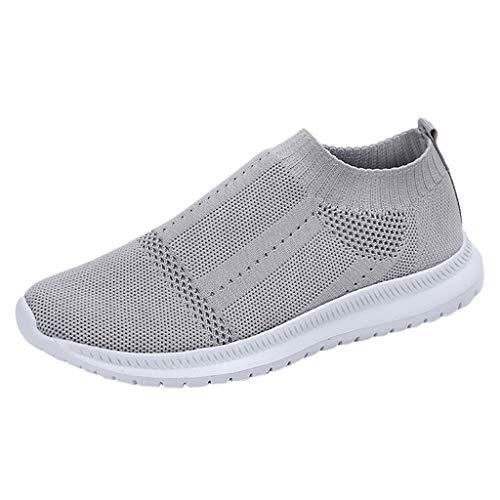 Womens Comfort Elastic Sock Slip On Walking Shoes Lightweight Non-Slip Breathable Grey