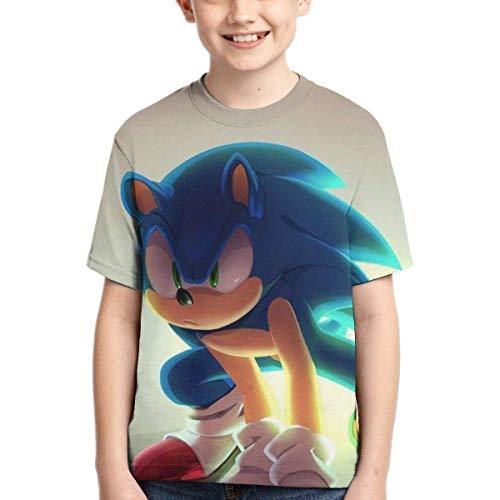YYTY Anime Sonic T Shirt Ragazzi Manica Corta Maglietta O-Collo Traspirante ad Asciugatura Rapida Moda per Bambini Casual T-Shirt Gioventù