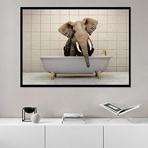 HERW Cuadro sobre Lienzo Cuadros Animales Lindos Lienzo Pintura Arte Pared Divertido Bañera Elefante Cartel HD Impresión para Sala Estar Decoración Baño