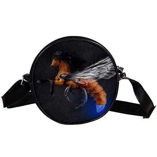 Flyinghorse Bee Body Diagonal pouch Round Crossbody Wallet, Shoulder Bag Fashion Circle crossbody shoulder bag Mini canvas Inclined shoulder bag