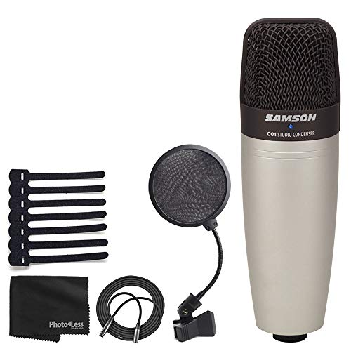 Samson C01 Studio Condenser Mic + Pop Filter + Mic Cable + Hook-&-Loop Cable Tie + Cleaning Cloth - Deluxe Microphone Bundle