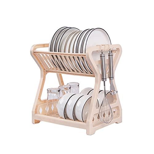 Nirant Estante de 2 niveles para secar platos con mostrador de escurridor, organizador para secar platos, encimera, suministros para ahorrar espacio (albaricoque, 2 niveles)