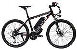 Hsart Vélo électrique pour adultes de style VTT 27vitesses et 26pouces avec moteur électrique 1000W 48V 15 Ah et batterie au lithium professionnelle L Noir