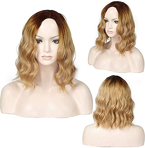 Pelucas onduladas con flequillo de aire, longitud de los hombros, peluca corta, rizada, ondulada, sinttica, disfraz de Navidad, dorado, de 15 pulgadas, color dorado