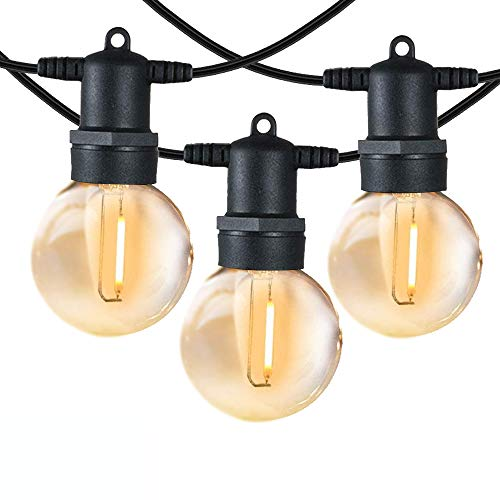 LED Outdoor String Lights, Outdoor Patio Lights, Festoon Lights Outdoor, Waterproof IP65, Party Light with UK Plug and 12 G40 Globe Plastic Bulbs (2 Spare) for Patio, Backyard, Garden, Bistro, Café