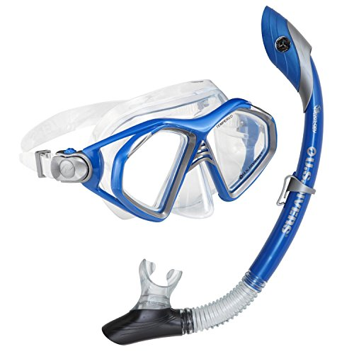 U.S. Divers Admiral 2 LX/Island Dry adulto maschera in silicone Combo (Electric Blue)