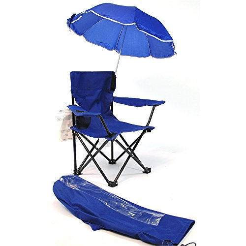 Redmon Umbrella Kids Camping Chair with Matching Shoulder Bag, Royal Blue