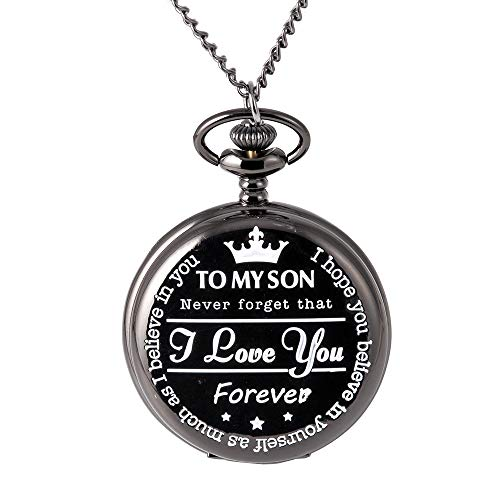 Engraved Pocket Watch for Son,to My Son Pocket Watch Gift from Mother & Father for Christmas,...