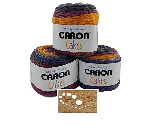 Caron Cake Bundle Acrylic Wool Blend Self-Striping Medium Gauge #4 Worsted w/Bamboo Knitting Gauge (Plum Crisp)