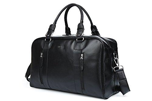 TIDING Uomo Classico Annata Pelle di nappa Weekender Viaggio Duffle Palestra spalla della borsa Nero