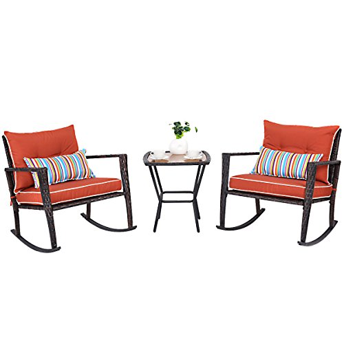 Tangkula 3 PCS Patio Rattan Wicker Furniture Set Outdoor Garden Glass Top Coffee Table & Rocking Wicker Chair Set w/Red Cushions (red)