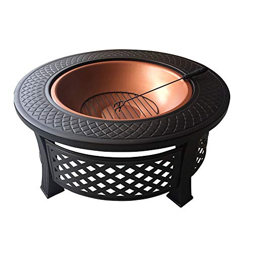 Best Review Of ZOUJUN BBQ Fire Basket Outdoor Barbeque Grill Charcoal Cast Iron Barbecue Stand Bowl ...