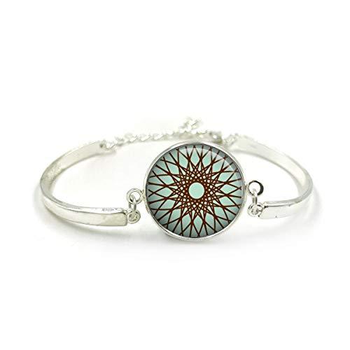 Butterfly N Beez Versilbert Mandala Armband Armreif| Silber Armband| Aqua Armreif| Mandala Schmuck| Mandala Bangle| Geschenk für Frau| Aqua Farbe Geschenke| Geschenk für Sie 6