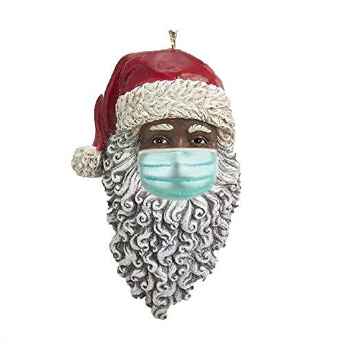 SSLIVE 2020 Christmas Ornament,Santa Claus Wearing A Face_Mask Christmas Tree Decoration,Xmas Tree Hanging Home Decorations Holiday Decor Gift (1PCS,Black)