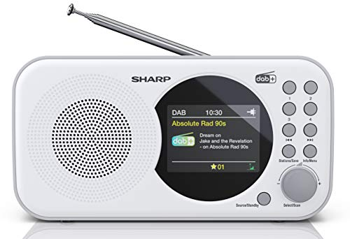 SHARP Radio digitale DR-P320 (WH) DAB+ DAB/DAB +/FM con testo di corsa RDSS, sveglia/snooze, bianco