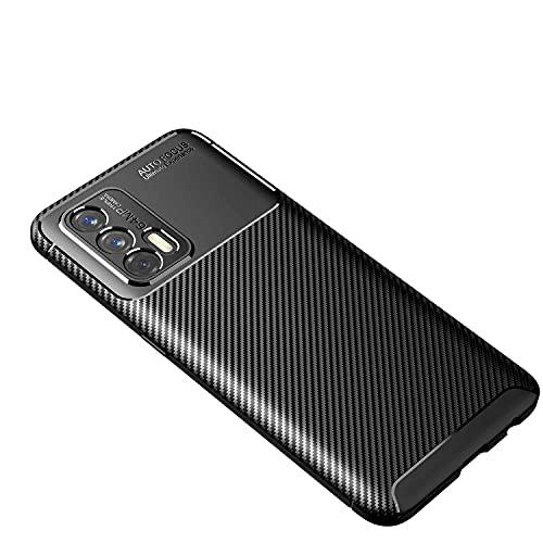 WEIOU Fibra de Carbono Funda para Realme GT 5G, Carcasa Protectora Antigolpes Suave TPU Silicona Caso Anti-Choques Resistente a los Arañazos. Negro
