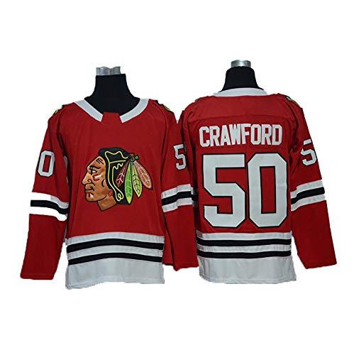 Yajun Corey Crawford#50 Chicago Blackhawks Eishockey Trikots Jersey NHL Herren Sweatshirts Atmungsaktiv T-Shirt Bekleidung,Red,XL
