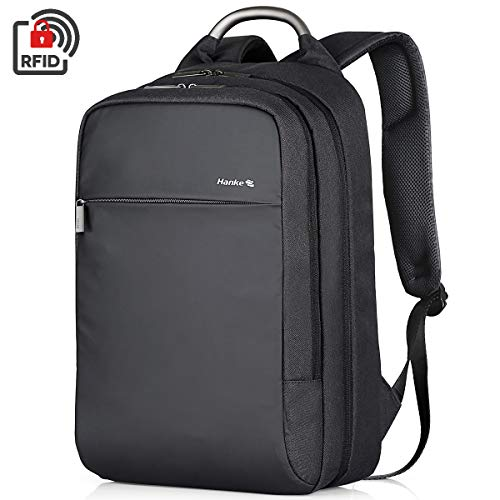 Hanke Carry on Backpack 18 Inch Casual Travel Backpack Durable Anti-Theft Personal Item Backpack Business Daypack Water Resistant College Schoolbag 15.6 inch Computer Rucksack for Women & Men,(Black)