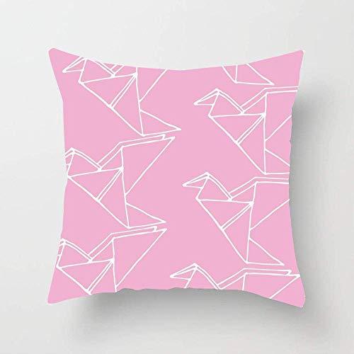 NA Origami asiático Azul Aves Dibujadas Mano Simple Animales Vida Salvaje Resumen Colección Colibri Rosa Grúa Funda de Almohada Funda de Almohada Decorativa para el hogar para sofá Sofá Cama Coche