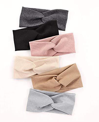 Damen Stirnbänder Elastisch Stirnband Breit Verdreht für Mädchen Haarbänder Sport Yoga Haar Zubehör 6 Stück (Set 4)