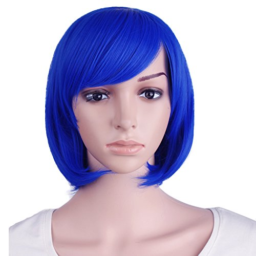 "MapofBeauty 12""/30cm Short Straight Diagonal Bangs Wig (Navy Blue)"