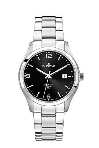 Dugena Herren Automatik-Armbanduhr, Saphirglas, Edelstahlarmband, Tresor, Silber/Schwarz, 4460912