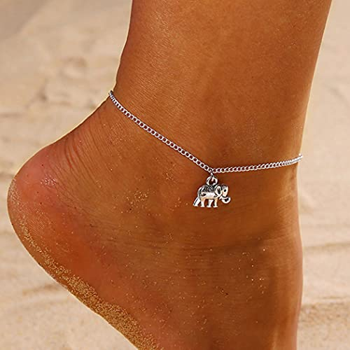 Handcess Tobillera bohemia de plata con elefante, cadena de pie de playa...