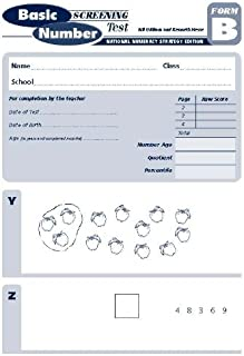 Basic Number Screening Test: National Numeracy Strategy Edition Form B