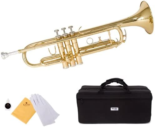 Mendini by Cecilio Gold Brass Standard Bb Trumpet with Hard Case, Gloves, 7C Mouthpiece, and Valve Oil