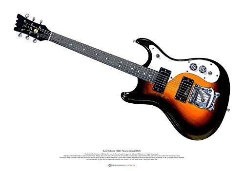 George Morgan Illustration Kurt Cobain Mosrite Gospel MkIV Gitarre Kunst Poster A2 Größe