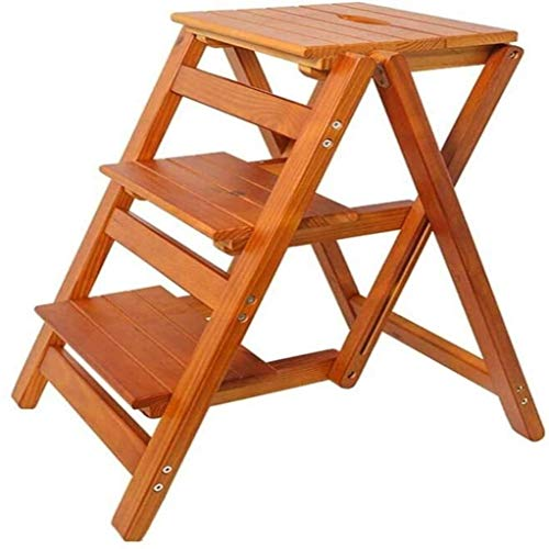 Suge Wooden Ladder Stool Folding Ladder Stools Stairs 3-Step Stool Multifunction Dual Use Change Shoes Flower Stand Solid Wood (Color : Brown, Size : -)