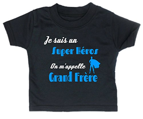 Les lutins de Camille-T-Shirt Humour garçon bébé/Enfant, Je suis Un Super héros, on m'appelle Grand frère (4 Ans, Noir)