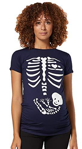 Happy Mama Damen Baby Bauch Skelett T-Shirt Jersey Oberteil für Schwangere. 085p (Marine, 44-46, 3XL)