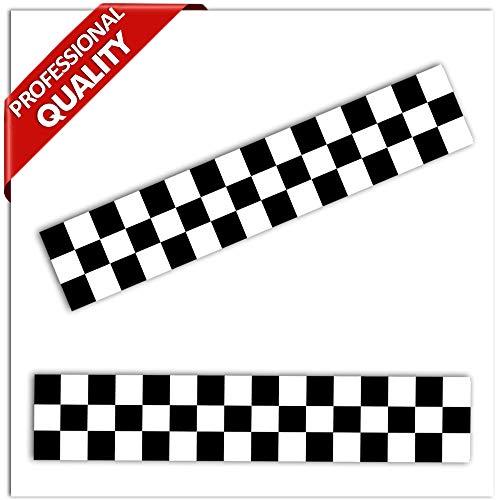 SkinoEu® 2 x PVC Laminado en Caliente Vinilo Adhesivos Deporte Bandera a Cuadros Negro Blanco Ganador Final Racing B 15