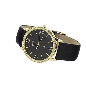 Orient Reloj de mujer cuarzo 37mm correa de cuero color negro FQC0H003B0