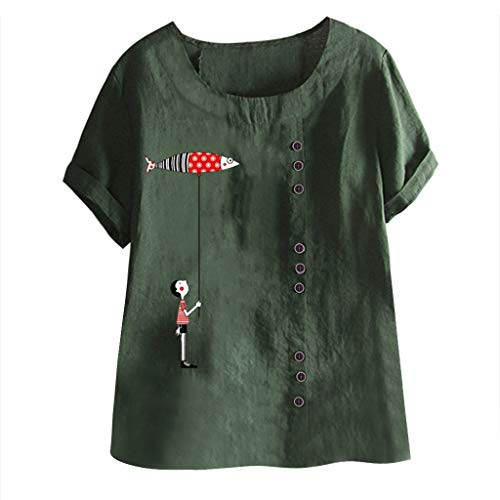EUZeo Damen Elegant Druken T-Shirts Bettwäsche aus Baumwolle Tops Frauen Übergroß Tees Halber Ärmel Sommer Shirts Tunic Lose Oberteil Streetwear Streetwear