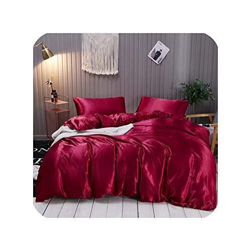 Juego de ropa de cama de satén de seda de color blanco y negro, tamaño King doble, para verano, juego de ropa de cama individual, juego de ropa de cama, juego de funda de edredón, tipo 3, Queen con sábana