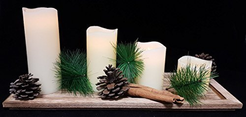 Spetebo Holz Adventstablett mit 4 LED Echtwachskerzen und Deko - imitieren echtes Kerzenflackern - Tablett mit LED Kerzen passend zum Advent