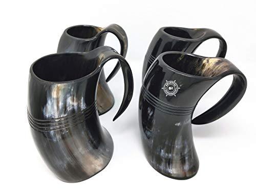 Bhartiya Handicrafts Trinkhorn-Tasse | Wikinger-Tasse Bierkrug | Trinkhorn-Tasse authentische Wikinger-Trinkbecher (groß, 4 Stück, 473 ml, natürliches Horn)