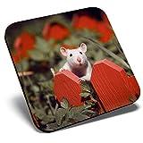 Posavasos cuadrado con diseño de rata blanca adorable, con brillantes y de calidad para cualquier tipo de mesa #8778